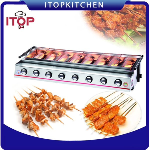 8 Burners Gas BBQ Grill LPG Outdoor Barbecue Cooking Machine Adjustable Height with Oil Collector