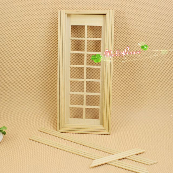 1:12 Scale 14 Panel French Glass Door Dollhouse Miniatures DIY Kit /Doll  House