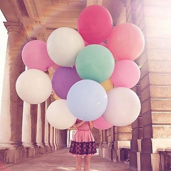 Wholesale-Colorful 36 Inches Round Giant Balloon Ball Helium Inflatable Big Large Latex Balloons For Birthday Party Wedding Decoration 1PC
