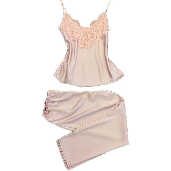 f898a1eb0832 Wholesale- two-pieces women nightwear sleep   lounge for female sexy  sleeveless tops + long pants pyjamas sets lace satin sleepwear girls