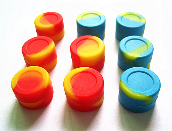 Quality FDA approved food grade oil slick 3ml matte finish non stick dab bho wax small Wholesale silicone jars dab wax container