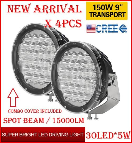 "DHL 4PCS 9"" 150W 30LED*5W CREE LED Driving Work Light Round Offroad SUV ATV 4WD 4x4 Transport Spot Beam 10-60V 15000lm Combo Protect Cover"