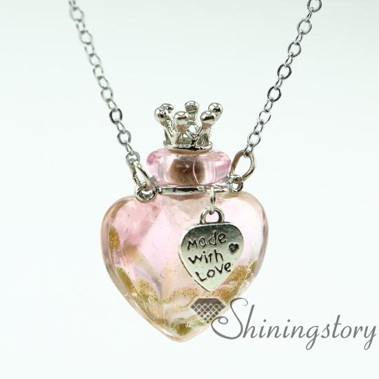 Wholesale Heart Aromatherapy Jewelry Scents Oil Diffusing Necklace