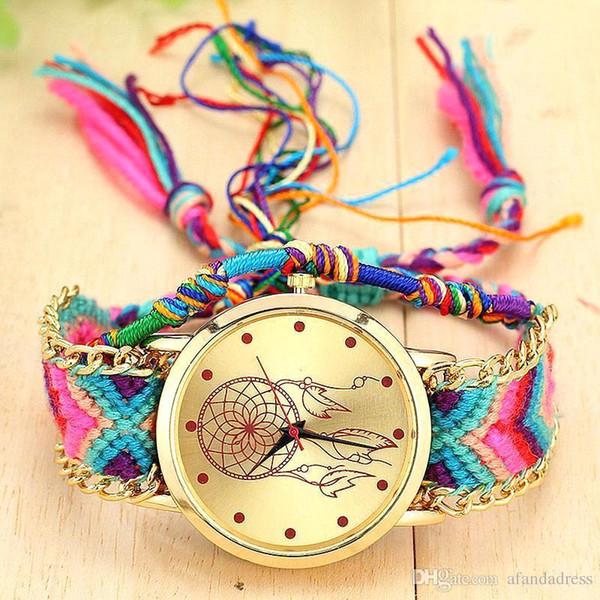 Самые дешевые красочные высокое качество Relogio Женщина для Relojes Mujer Новые Девушки браслет Часы Женщины Ловец снов Braid Наручные часы