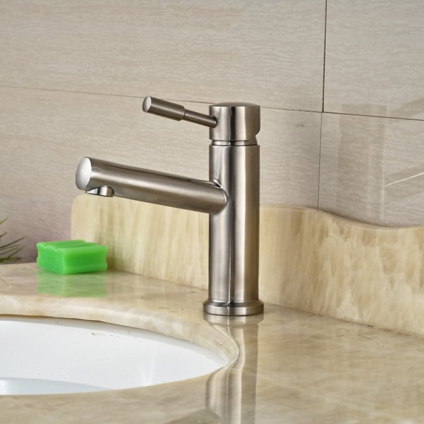 Factory Direct Sale Basin Sink Faucet Brushed Nickel Deck Mount with Hot & Cold Water Taps for Bathroom