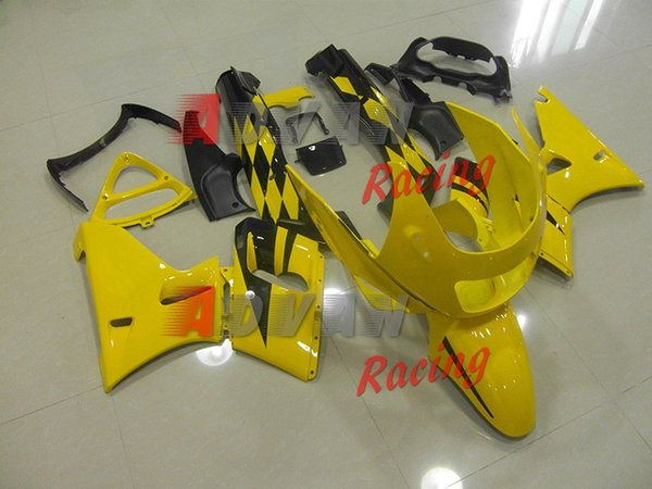 Yellow and black pattern custom painted injection molded cowl cross-country Kawasaki ZZR400 1995-2003 6
