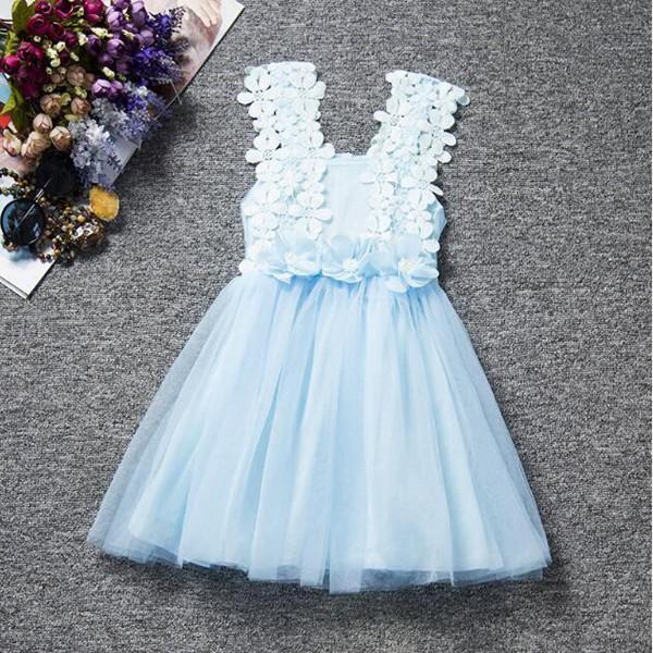 Çocuk giyim Vintage Mavi Bebek kız Elbise, Dantel tül Kızlar Parti Elbise, Dantel Desen Bebek Kız yaz elbise, Toddler Kıyafet
