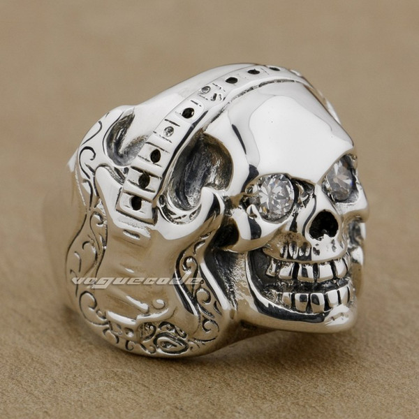 Guitar Music Skull 925 Sterling Silver Clear Eyes Stone Mens Ring 9D009 US Size 8~14 Free Shipping