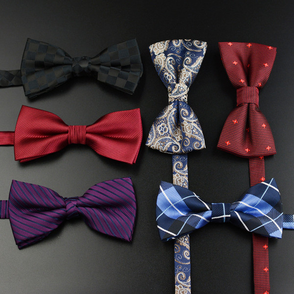 top popular Men's Bow Tie Gold Paisley Bowtie Business Wedding Bowknot Dot Blue And Black Bow Ties For Groom Party Accessories 2020