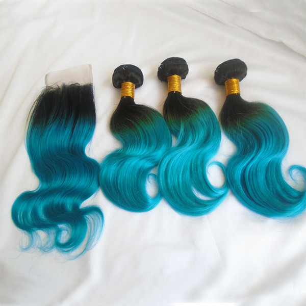 Ombre Peruvian Body Wave Human Hair Weaves With Lace Closure T1b Blue Two Tone Virgin Hair Lace Closure Bundles 4pcs Lot 8A Grade