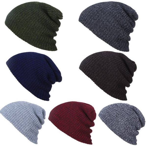New 8 Colors Women Ponytail Caps Knitted Beanie Fashion women and men Winter Warm Hat Back Hole Pony Tail Autumn Casual Beanies