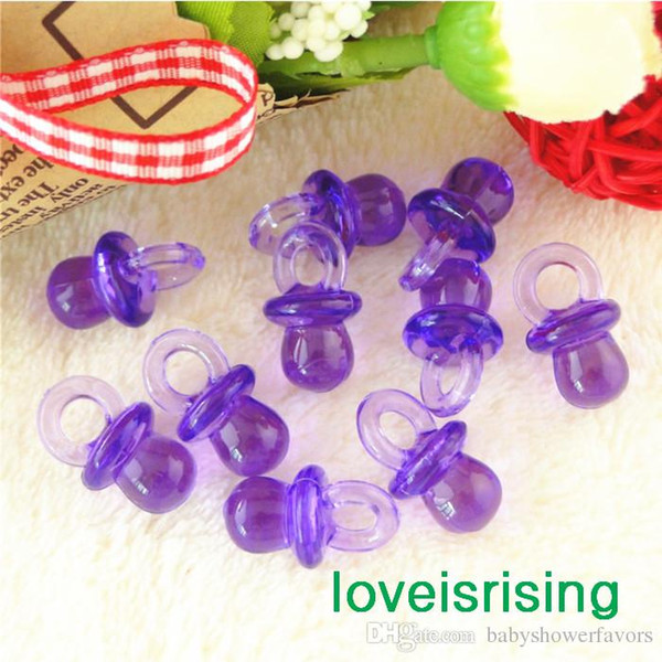 Free shipping-100pcs/pack 22mm*11mm Clear Purple Mini Acrylic Baby Pacifier Baby Shower Favors~Cute Charms ~Party Decorations