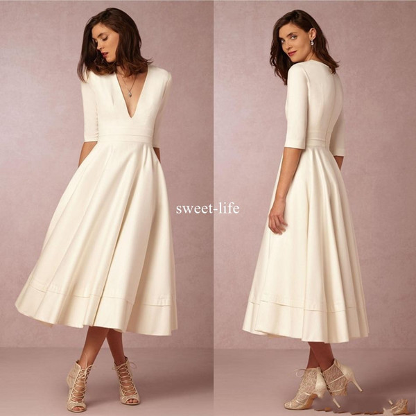 New Arrival 2019 Homecoming Dresses Deep V Neck Half Sleeves Graduation Dress Tea Length Formal Evening Party Prom Gowns