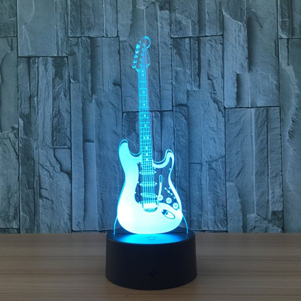 Guitar Creative 3D Light Electric Guitar Model Illusion 3d Lamp LED 7 Color Changing USB Night Light