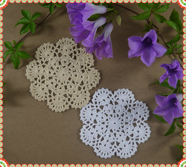 Lot of 20 pcs Handmade Crocheted Doilies Placemats Shabby Chic Nostalgic Vintage Look Sector Diameter 12cm