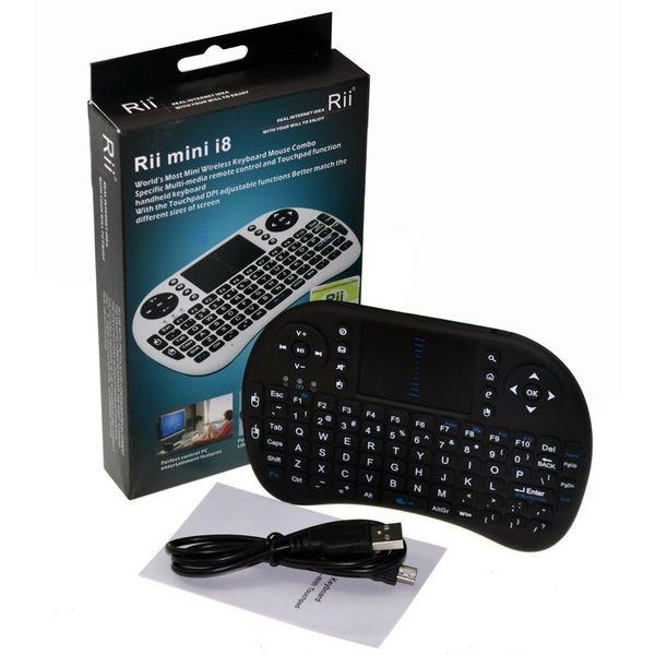 Оптовая продажа-2.4 G Rii мини i8 беспроводная клавиатура сенсорная панель мышь воздуха для планшетных ПК iPad мини Google Andriod Smart TV Box Xbox360 PS3 HTPC / IPTV