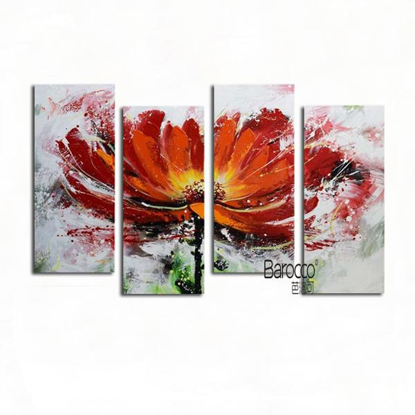 Red Flowers Pure Hand Painted Abstract Oil Painting Modern Home Wall Art Decoration Gift 4 Pieces
