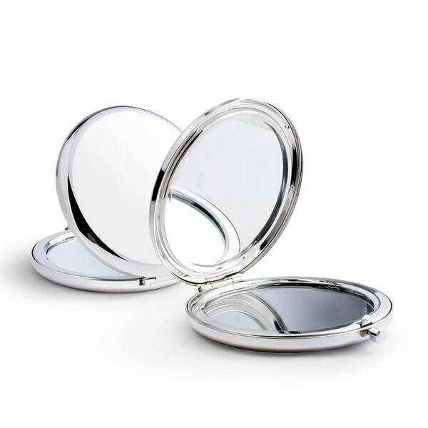 Make-up Mirror Folding Double-sided Mirror Metal Pocket Portble Mirrors Silver Diy Mirror Cute and Compact Gift To Girlfriend LDH24