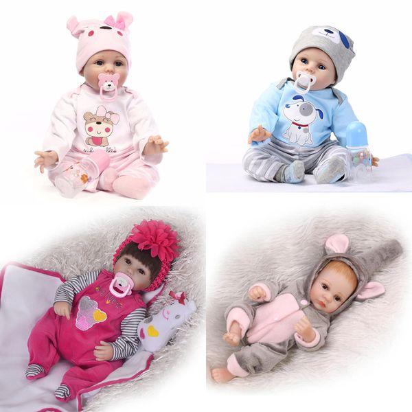 22 Inch Boy Doll Handmade Body Silicone Reborn Baby Soft Newborn Bath Toy Reborn Baby Doll Gift Doll XMAS Gift