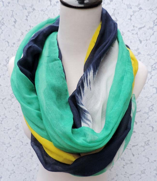 2015 New Fashion Colorful Stripe Scarves For Women /Ladies Patchwork Check Infinity Scarf Snood Free Shipping