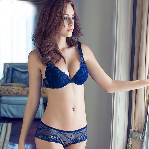 reputable site b33be 7ed97 Großhandel Damenunterwäsche Spitze Sexy Push Up Einstellbare Junges Mädchen  BH A / B / C Cup Push Up BH Set Sexy V Neck Plunge Lace BH + Slip Von ...