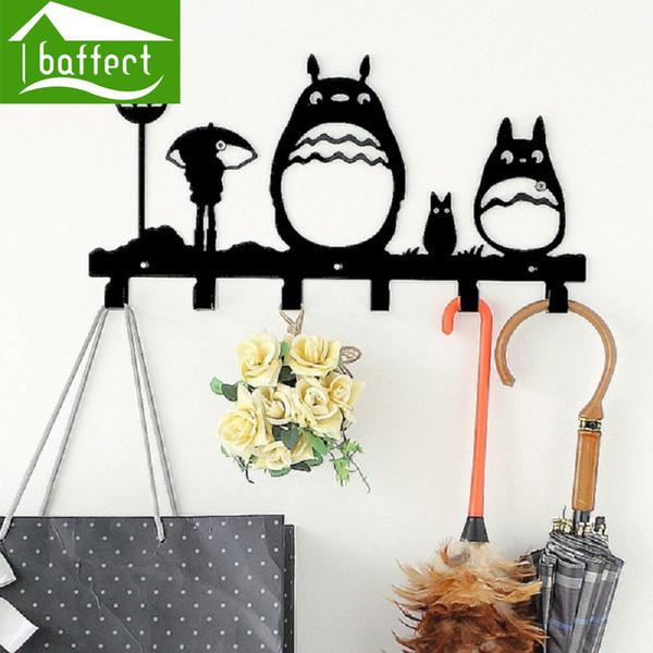 Gros-Totoro Creative Métal Crochets Crochets pour sac Clés Mural Décoratif pour crochets Cap Rack Vêtements Cintres Cartoon 6 Crochets