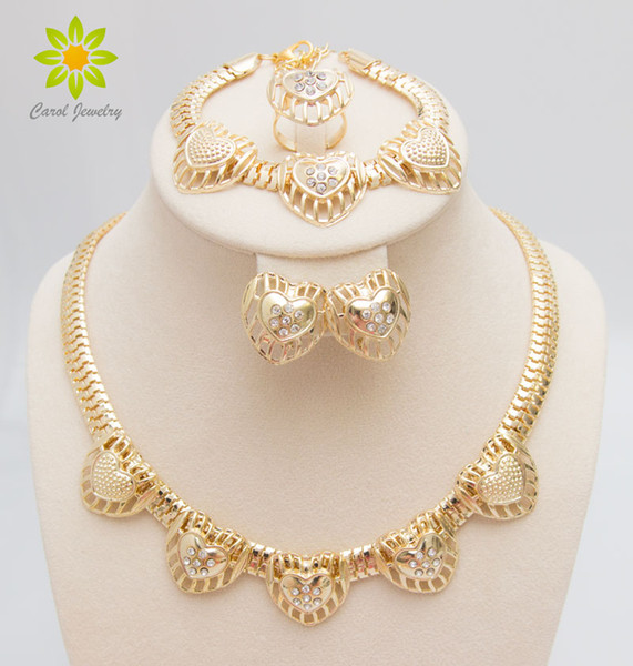 Free Shipping Hot Selling Gold Plated Heart Shape Jewelry Set Fashion Crystal Wedding Bridal Costume Jewelry Ses