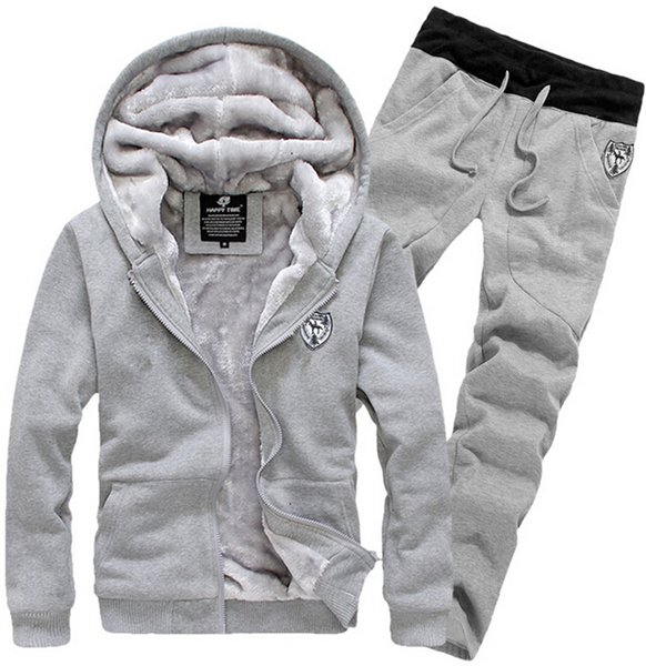 top popular New Arrival 2015 Tracksuit for Man Casual Spring Autumn Thicking Hoody Fur Lining Fleece Hoodies Pant Men's Sports Clothing Sets Sweat Suits 2019