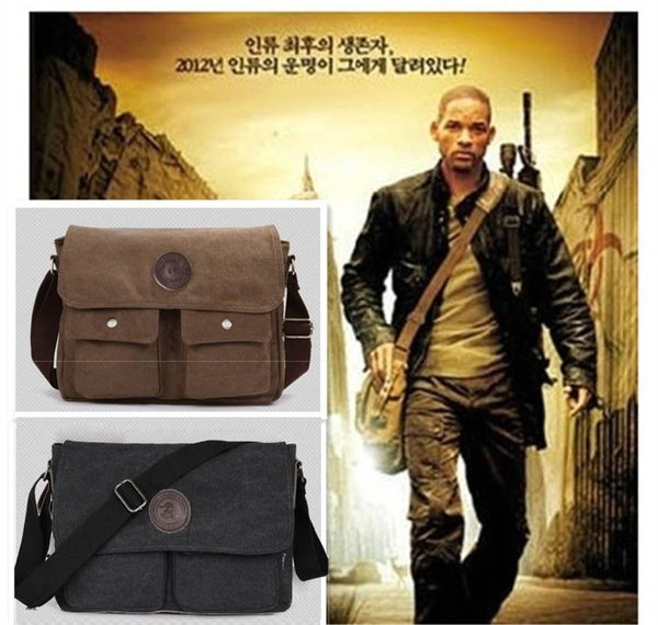 Men Vintage Canvas Leather Satchel School Military Shoulder Bag Messenger Bag MA