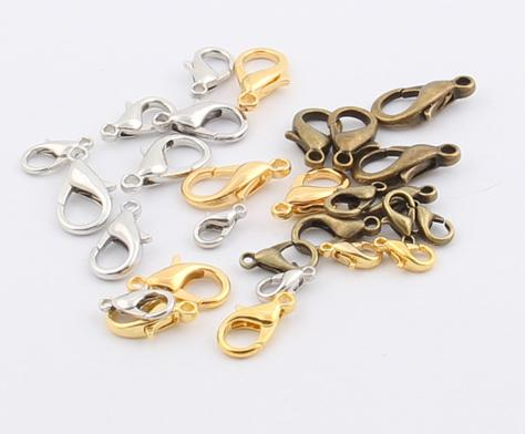 best selling Hot MIC New 10mm 12mm 14mm 16mm 18mm Silver Gold Bronze Plated Alloy Lobster Clasps Clasps