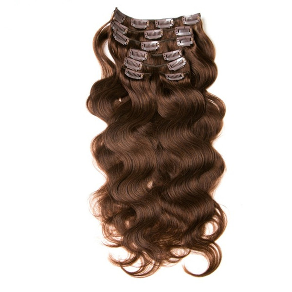 ELIBESS HAIR- Clip In Human Hair Extensions Non-Remy Hair 7Pcs/Set 70g Brazilian Body Wave 16-24 inches Light Brown #4 Clip Ins