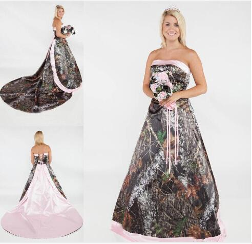 Trendy 2015 Strapless Camo Forest Wedding Dresses with Detachable Court Train Lace-up A-Line Pink Bridal Dresses 3D Flower Wedding Gowns