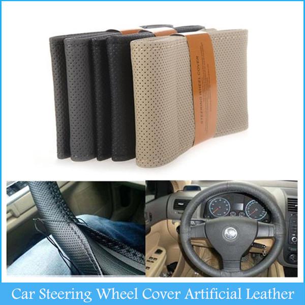 Populaire bricolage voiture volant couverture cuir artificiel à la main à coudre avec aiguille et fil noir Beige gris C436