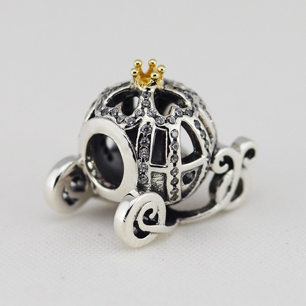 2015 New 925 Sterling Silver & 14K Real Gold Cinderella Pumpkin Charm Bead Fits European Pandora Jewelry Bracelets Necklaces & Pendants