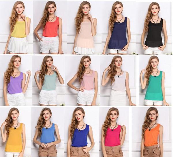 top popular 15 colors hot Selling Women Girls Ladies Short Racerback Tank Tops Cami Minis Sleeveless Vest Waistcoat T-Shirt A102 2021