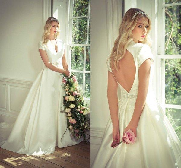 Cheap Modest Plus Size A Line Wedding Dresses With Short