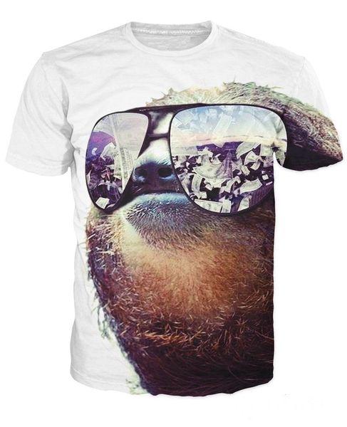 Moda Giyim Kadın Erkek güneş gözlükleri ile t gömlek 3d Tembellik nakit onları wads onları yansıtan T-Shirt harika tee Yaz tops