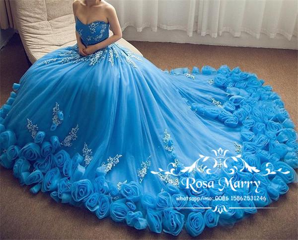 Azul Royal Cinderela Vestidos de Baile com Flores Em 3D 2020 vestido de Baile Querida Lace Apliques Plus Size Debutante Formal Vestidos Quinceanera