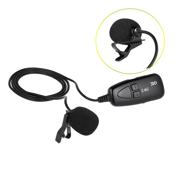 XXD-G18L 2.4G Wireless Microphone Hands Free Clip-on Lapel Portable External Mic with Receiver Transmitter for Car Radio Home