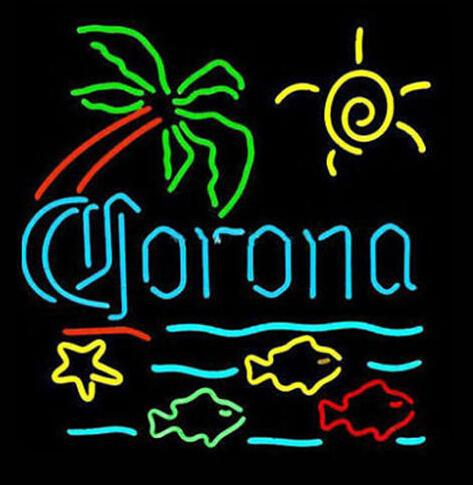 """Corona Palm Tree Fishes Sun Neon Sign Custom Hand-crafted Real Glass Tube Hotel Beer Bar Store Home Decoration Display Neon Signs 18""""X18"""""""