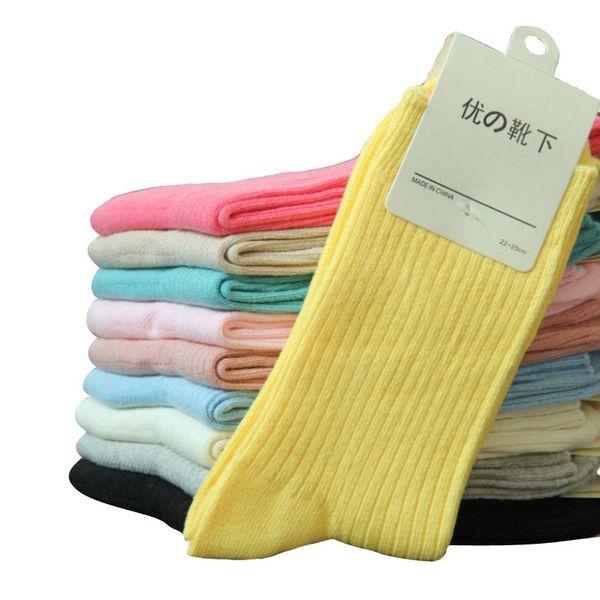 Wholesale-2015 heißer Verkauf Damen Socken 100% Baumwolle Bunte Candy Farbe vertikale Bar Mädchen Socken Fashion Solid Color Marke Socke