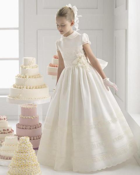 2018 Güzel Çiçek Kız Elbise Saten Güzel Dantel Yüksek Yaka Kanat Çiçekler Fırfır Kısa Kollu Ayak Bileği Uzunluk Düğün Doğum Günü Günü Elbise