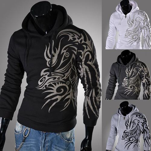 HOT!2016 New Style Fashion Hipop Men Hoodies sweatshirt,casaco com capuz Plus Size 4 Colors Tattoo Printing Hoody Men Sportswear M-XXL