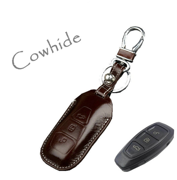 genuine leather Key Cover holder for ford Focus 3 Kuga Ecosport C-Max Mondeo Fusion smart remote key case wallet holder keychain rings