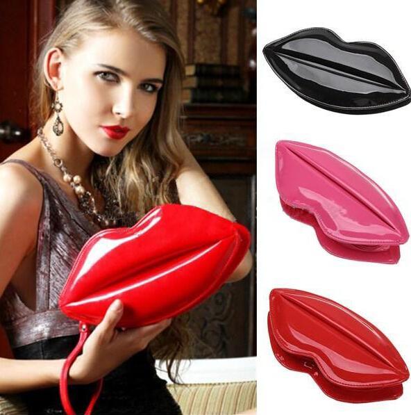 Popüler Büyük Dudaklar Desen Kadınlar Lady Debriyaj Zincir Shouder Çanta Akşam Çanta Kırmızı Dudaklar Şekil Çanta Deri Kadın Çanta 8 Renkler