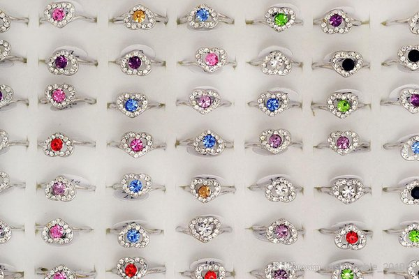 Rings Wholesale lots Mixed Colors Rhinestone Cute Heart Silver Tone Girl's/Women's fashion jewelry Rings R1