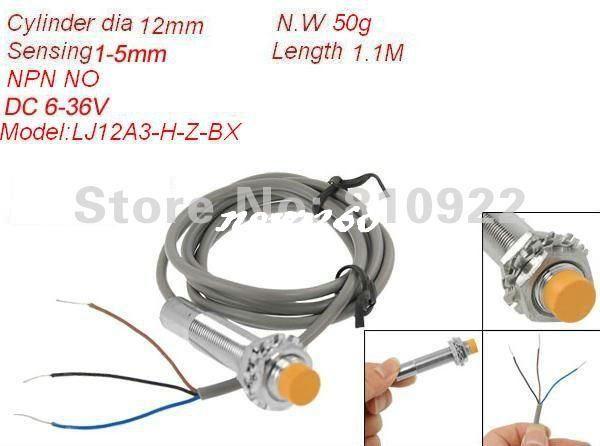 10 PCS/LOT 3-wire Capacitive Proximity Sensor,DC 6-36V in Metal Cylinder Dia 12mm,Sensing 1-5mm,NPN NO output,mMax 200mA