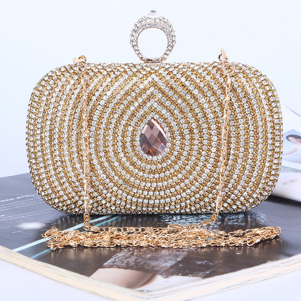 best selling Factory-direct Retaill Wholesale handmade unique diamond evening bag clutch with satin PU for wedding banquet party porm