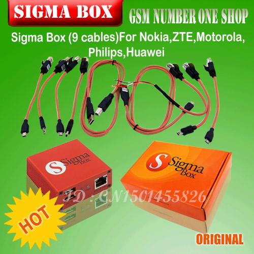 100%Original Sigma Box Sigmabox Full Set For Mobile Phone Unlock&Flash&Repairing For China Mobile Phone/Nokia with 9 Cable