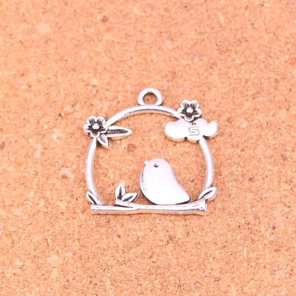 40pcs Antikes Silber überzogene Birdcage Vogel Blume Charms Anhänger für europäische Armband Schmuck machen DIY handgemachte 25 * 26mm